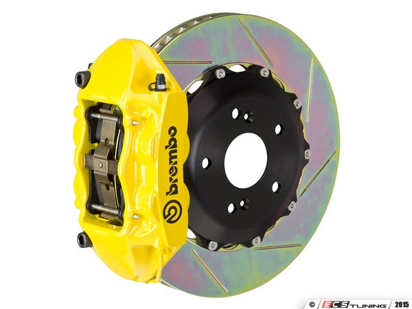 ES#3142569 - 1P2.8005A5 - Front Brembo GT 4 Piston Big Brake Kit (345x28mm) - Upgrade to 2 piece rotors (slotted), 4 piston calipers (Yellow), & high performance Brembo pads - Brembo - MINI
