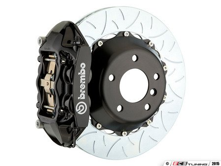 ES#3142493 - 1P3.8005A1 - Front Brembo GT 4 Piston Big Brake Kit Type 3 (345x28mm) - Featuring Black 4 piston calipers, multi slotted rotors, stainless brake lines, and Brembo Sport brake pads - Brembo - MINI
