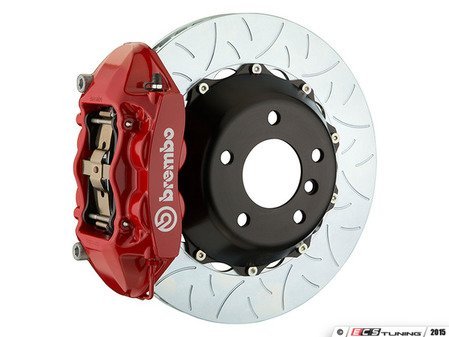 ES#3142527 - 1P3.8005A2 - Front Brembo GT 4 Piston Big Brake Kit Type 3 (345x28mm) - Featuring Red 4 piston calipers, multi slotted rotors, stainless brake lines, and Brembo Sport brake pads - Brembo - MINI