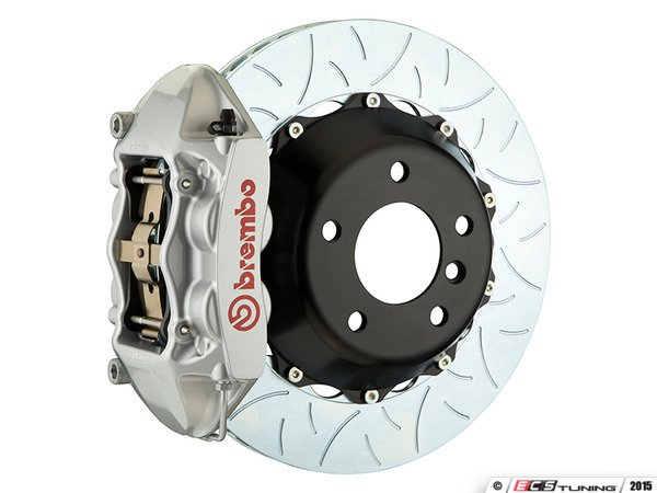 ES#3142529 - 1P3.8005A3 - Front Brembo GT 4 Piston Big Brake Kit Type 3 (345x28mm) - Featuring Silver 4 piston calipers, multi slotted rotors, stainless brake lines, and Brembo Sport brake pads - Brembo - MINI