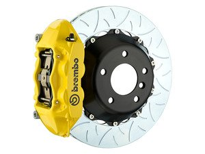 ES#3142573 - 1P3.8005A5 - Front Brembo GT 4 Piston Big Brake Kit Type 3 (345x28mm) - Featuring Yellow 4 piston calipers, multi slotted rotors, stainless brake lines, and Brembo Sport brake pads - Brembo - MINI