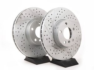 ES#3138832 - 013176ecs02aKT - Front Cross Drilled & Slotted Brake Rotors - Pair (332x30) - Featuring GEOMET protective coating offering superior rust protection for long lasting, great looking rotors. - ECS - BMW