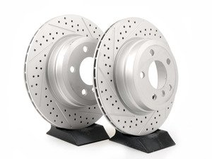 ES#3138913 - 013176ecs04aktKT - Rear Cross Drilled & Slotted Brake Rotors - Pair (320X20) - Featuring GEOMET protective coating offering superior rust protection for long lasting, great looking rotors. - ECS - BMW