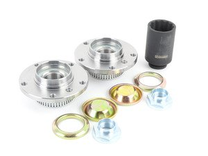 ES#3142837 - 31226757024KT - Front Wheel Hub/Bearing Assembly Kit - Includes left and right bearing, nuts, dust caps and Schwaben 46mm socket for ease of installation - Assembled By ECS - BMW