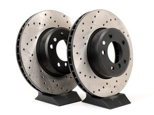 ES#3025777 - 34116753221CD - Cross-Drilled Brake Rotors - Front  - This design removes performance robbing outgas and material dust caused by braking - StopTech - BMW