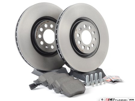ES#2765352 - 1J0698056KT - Front Brake Service Kit (312x25) - Featuring Brembo rotors and Pagid pads - Assembled By ECS - Volkswagen