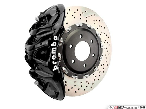 ES#3148323 - 1Q1.9617A1 - Brembo GT Front Big Brake Kit - 2 Piece Drilled Rotors (412x38) - Featuring Black 8 piston calipers, stainless brake lines and Brembo Sport brake pads - Brembo - Audi