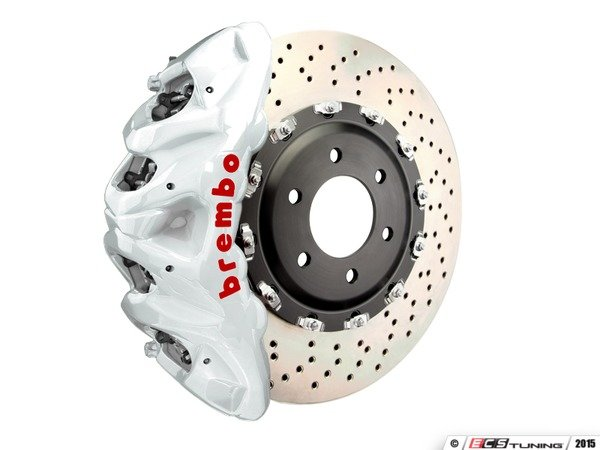 ES#3148326 - 1Q1.9617A4 - Brembo GT Front Big Brake Kit - 2 Piece Drilled Rotors (412x38) - Featuring White 8 piston calipers, stainless brake lines and Brembo Sport brake pads - Brembo - Audi