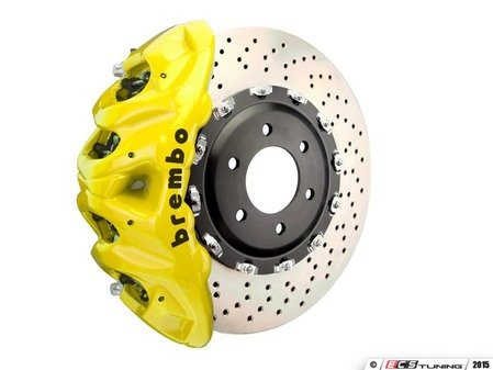 ES#3148325 - 1Q1.9617A3 - Brembo GT Front Big Brake Kit - 2 Piece Drilled Rotors (412x38) - Featuring Yellow 8 piston calipers, stainless brake lines and Brembo Sport brake pads - Brembo - Audi