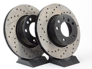 ES#3025799 - 34116772669CDS - Cross-Drilled & Slotted Brake Rotors - Front  - This design removes performance robbing outgas and material dust caused by braking - StopTech - BMW