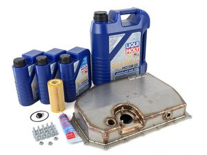ES#3143304 - 008012ECS01-04KT - ECS Tuning Stainless Steel Oil Pan Replacement Kit - Complete - Upgrade to ECS Stainless Pan with all required hardware featuring Liqui-Moly 5W-40 engine oil - Assembled By ECS - Audi Volkswagen