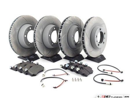 ES#2598359 - 99635140904PEKT - Performance Front & Rear Brake Service Kit - Featuring Sebro slotted rotors and Hawk HPS brake pads - Assembled By ECS - Porsche
