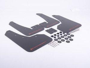 ES#3129662 - MF37URBLKRD - Mud Flap Kit - Black With Red Logo  - Durable, polyurethane mud flaps - Rally Armor - Volkswagen