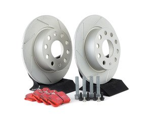 ES#3149986 - 007921ECS01KT1 - Performance Rear Brake Service Kit (253x10) - Featuring ECS slotted rotors with GEOMET coating and EBC RedStuff performance pads - Assembled By ECS - Audi Volkswagen