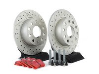 ES#3149985 - 007921ECS01KT2 - Performance Rear Brake Service Kit (253x10) - Featuring ECS cross-drilled and slotted rotors with GEOMET coating and EBC RedStuff performance pads - Assembled By ECS - Audi Volkswagen