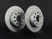 ES#3048202 - 007921ECS01-01KT - Rear Cross Drilled & Slotted Brake Rotors - Pair (253x10) - Featuring GEOMET protective coating. - ECS - Audi Volkswagen