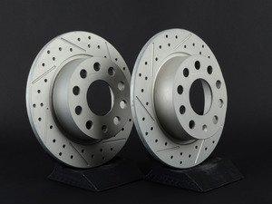 ES#3048202 - 007921ECS01-01KT - Rear Cross Drilled & Slotted Brake Rotors - Pair (253x10) - Featuring GEOMET protective coating. - ECS - Audi Volkswagen