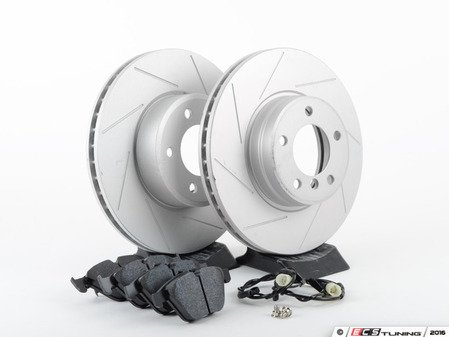 ES#3143713 - 6753221KT4 - Performance Front Brake Service Kit - Featuring ECS GEOMET slotted rotors and Hawk HPS pads - Assembled By ECS -