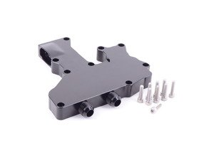 ES#2873073 - IEBAVT5-BK - Breather Plate For Recirculating Catch Can - Black - Replace your faulty factory PCV system with a catch can by using this billet adapter plate. - Integrated Engineering - Volkswagen