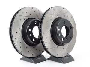 ES#3033059 - 34106797602CDS - Cross-Drilled & Slotted Brake Rotors - Front  - This design removes performance robbing outgas and material dust caused by braking - StopTech - BMW