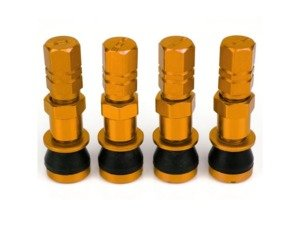ES#3170877 - 4PCVSW/CAPGLD - Aluminum Valve Stems With Hex Caps - Gold - Lightweight anodized valve stems with hex caps - Sickspeed - BMW Volkswagen MINI