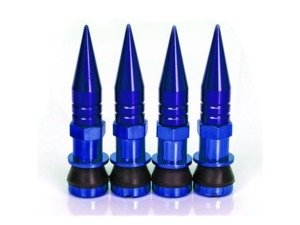 ES#3170903 - 4PCVSW/SPKBLU - Aluminum Valve Stems With Spike Caps - Blue - Lightweight anodized valve stems with spiked caps - Sickspeed - BMW Volkswagen MINI