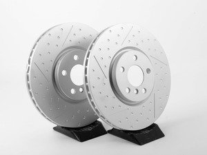 """ES#3010010 - 34106864133KT - Front Dimpled / Slotted JCW Rotors - Pair 13.189"""" (335x30) - High performance rotors for stopping your MINI. - Genuine MINI - MINI"""