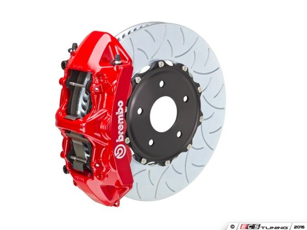 ES#3176228 - 1N3.9054A2 - Brembo GT Front Big Brake Kit - 2 Piece Type 3 Slotted Rotors (380x34) - Featuring Red 6 piston calipers, stainless brake lines, and brembo sport brake pads - Brembo - Audi