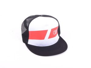 ES#3151835 - ACM4796 - Audi Snapback Cap  - White front panel with Audi rings screen printed on front of red - Mesh back panel - Audi Collection - Audi