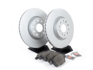 ES#3173579 - 1k0615301aecoKT - Economy Ceramic Front Brake Service Kit (312x25) - Coated Optimal Rotors and Jurid Ceramic Brake pads - Only the essentials to perform a brake service - Assembled By ECS - Volkswagen
