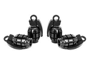 "ES#3170876 - 4pcBLKVSGrenade - Grenade Valve Stem Caps - Black  - Lightweight anodized spike valve stem caps measuring 1.57"" high - Sickspeed - BMW Volkswagen MINI"