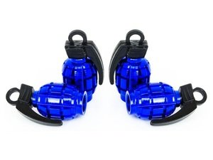 "ES#3170882 - 4pcBLUVSGrenade - Grenade Valve Stem Caps - Blue - Lightweight anodized spike valve stem caps measuring 1.57"" high - Sickspeed - BMW Volkswagen MINI"