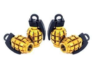 "ES#3170889 - 4pcGOLDVSGrenade - Grenade Valve Stem Caps - Gold  - Lightweight anodized spike valve stem caps measuring 1.57"" high - Sickspeed - BMW Volkswagen MINI"