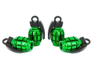 "ES#3176350 - 4PCGRNVSGRENADE - Grenade Valve Stem Caps - Green - Lightweight anodized spike valve stem caps measuring 1.57"" high - Sickspeed - BMW Volkswagen"