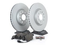ES#3173582 - 1k0615301aecoKT1 - Economy Semi-Metallic Front Brake Service Kit (312x25) - Coated Optimal Rotors and Vaico Semi-Metallic Brake pads - Only the essentials to perform a brake service - Assembled By ECS - Volkswagen