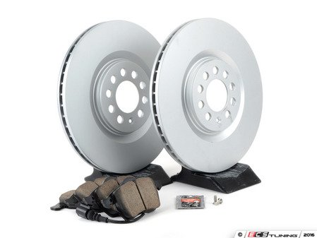 ES#3173674 - 1J0698056KT3 - Economy Ceramic Front Brake Service Kit (312x25) - Coated Optimal Rotors and Akebono Ceramic Brake pads - Only the essentials to perform a brake service - Assembled By ECS - Volkswagen