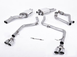 """ES#2827394 - SSXAU268 - Cat-Back Exhaust System - Non-Resonated - 2.37"""" stainless steel with quad 80mm polished tips - Milltek Sport - Audi"""