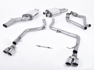 "ES#2827391 - SSXAU265 - Cat-Back Exhaust System - Non-Resonated - 2.37"" stainless steel with quad 80mm polished tips - Milltek Sport - Audi"