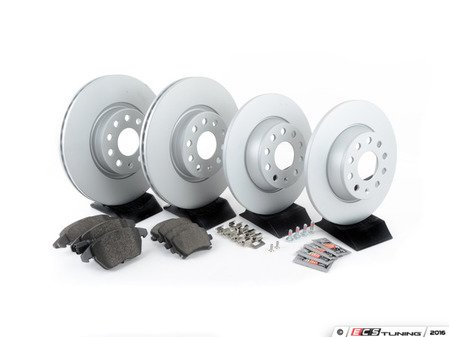 ES#3173601 - 1k0615301aaecKT -  Economy Ceramic Front & Rear Brake Service Kit (312x25 / 282x12) - Coated Meyle Rotors and Jurid Ceramic Brake pads - Only the essentials to perform a brake service - Assembled By ECS - Volkswagen