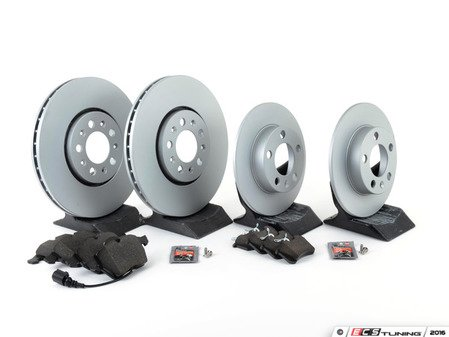 ES#3173537 - 1J0698001KT1 - Economy Front & Rear Brake Service Kit - Zimmerman Rotors and Vaico Brake pads - Only the essentials to perform a brake service - Assembled By ECS - Volkswagen