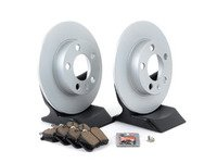 ES#3173522 - 1J0698014KT3 -  Economy Ceramic Rear Brake Service Kit (232x9) - Coated Optimal Rotors and Akebono Ceramic Brake pads - Only the essentials to perform a brake service - Assembled By ECS - Volkswagen