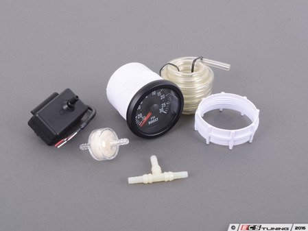 ES#3176545 - PSTEBO270-12 - 52mm Prosport Electrical Boost Gauge - Clear Lens/White LED - Includes twist on mounting ring, twist on LED bulb, tubing kit, T-adapter, and instructions. - Prosport Performance - Audi BMW Volkswagen Mercedes Benz MINI Porsche