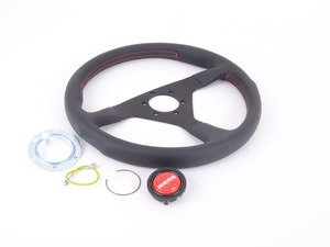 ES#3135805 - MCL35BK3B - MOMO Montecarlo Steering Wheel - Red Stitch 350mm  - Customize your driving experience with this fine leather steering wheel - MOMO - Audi BMW Volkswagen Mercedes Benz MINI Porsche