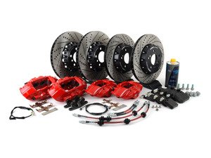 ES#3184079 - 009607ECS01AKT10 - ECS M Performance Front & Rear Big Brake Kit - Red - (NO LONGER AVAILABLE) - Upgrade to M Performance calipers, 370x30mm 2-piece rotors, Genuine BMW pads, & ECS Exact-fit brake lines - ECS -