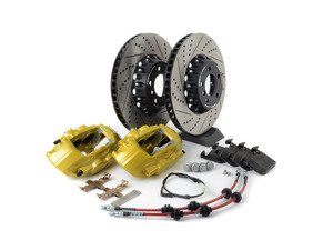 ES#3184063 - 009607ecs01aKT3 - ECS F30 M Performance Front Big Brake Kit - Yellow - (NO LONGER AVAILABLE) - Upgrade to the F30 M Performance calipers with larger 2-piece rotors and stainless steel brake lines - ECS -
