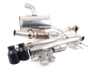 """ES#3187800 - SSXVW217TBKT - MK6 Golf R 3"""" Turbo Back Exhaust System - Non-Resonated - Get that Exhaust tone you've been looking for! Features 3"""" cat-back construction with 4"""" Black Velvet """"GT100"""" style tips, and a 3"""" downpipe with a high-flow cat - Milltek Sport - Volkswagen"""