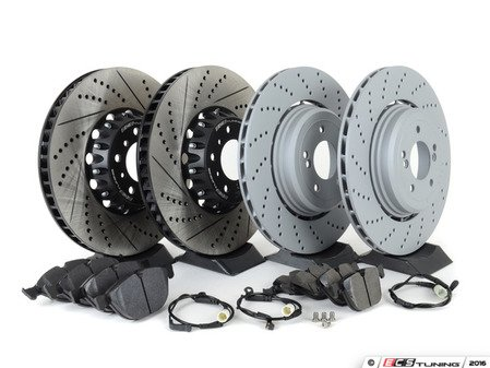 ES#3183517 - 34112282805kt10 - performance Front & Rear Brake Service Kit - Featuring front ECS 2-piece semi-floating cross drilled and slotted rotors, OE rear Zimmermann Formula-Z rotors, and Hawk HPS pads - Assembled By ECS - BMW