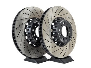 ES#3183515 - 004383ecs01aKT - 2-Piece Lightweight Front Brake Rotors - Pair (374x36) - Direct bolt-on cross-drilled and slotted replacement - 2-piece semi-floating rotors offer reduced unsprung weight and additional cooling capacity versus OEM for improved braking, handling, and ride quality! - ECS - BMW