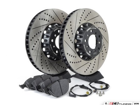 ES#3183518 - 34112282805KT11 - Performance Front Brake Service Kit - Featuring ECS 2-piece semi-floating cross drilled and slotted rotors and Hawk HPS pads - Assembled By ECS - BMW