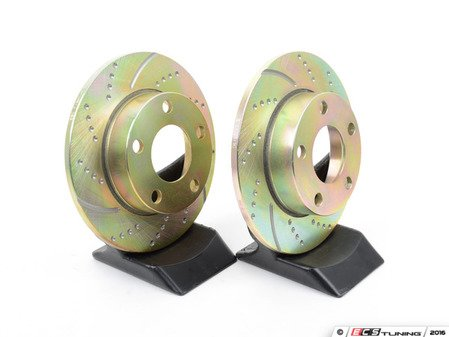 ES#522231 - GD909 - Rear Slotted & Dimpled Brake Rotors - Pair (245x10) - Upgrade to a slotted / dimpled rotor for improved braking - EBC - Audi Volkswagen